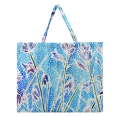 Art Batik Flowers Pattern Zipper Large Tote Bag by BangZart