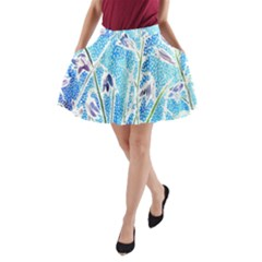 Art Batik Flowers Pattern A Line Pocket Skirt