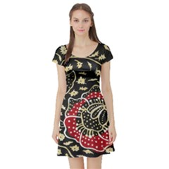 Art Batik Pattern Short Sleeve Skater Dress