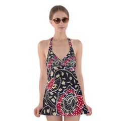 Art Batik Pattern Halter Swimsuit Dress