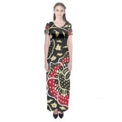 Art Batik Pattern Short Sleeve Maxi Dress