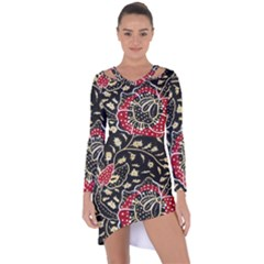 Art Batik Pattern Asymmetric Cut Out Shift Dress