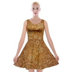 Batik Art Pattern Velvet Skater Dress