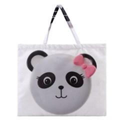 Pretty Cute Panda Zipper Large Tote Bag by BangZart