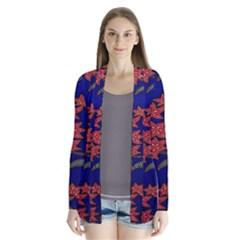 Batik  Fabric Drape Collar Cardigan