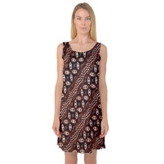 Art Traditional Batik Pattern Sleeveless Satin Nightdress
