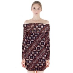 Art Traditional Batik Pattern Long Sleeve Off Shoulder Dress