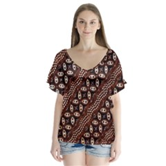 Art Traditional Batik Pattern Flutter Sleeve Top