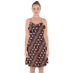 Art Traditional Batik Pattern Ruffle Detail Chiffon Dress