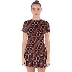 Art Traditional Batik Pattern Drop Hem Mini Chiffon Dress