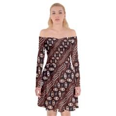 Art Traditional Batik Pattern Off Shoulder Skater Dress