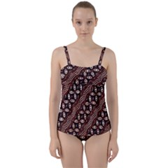 Art Traditional Batik Pattern Twist Front Tankini Set