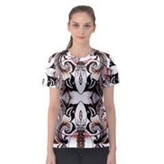 Art Traditional Batik Flower Pattern Women s Sport Mesh Tee