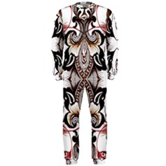 Art Traditional Batik Flower Pattern Onepiece Jumpsuit (men)