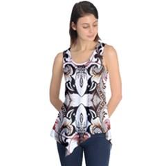 Art Traditional Batik Flower Pattern Sleeveless Tunic