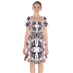 Art Traditional Batik Flower Pattern Short Sleeve Bardot Dress