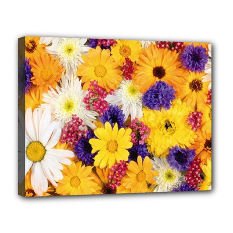 Colorful Flowers Pattern Canvas 14  X 11  by BangZart
