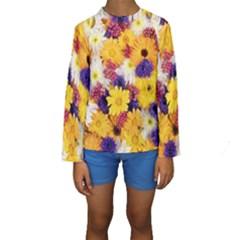 Colorful Flowers Pattern Kids  Long Sleeve Swimwear