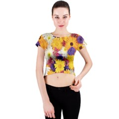 Colorful Flowers Pattern Crew Neck Crop Top