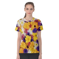Colorful Flowers Pattern Women s Cotton Tee