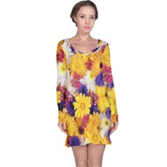 Colorful Flowers Pattern Long Sleeve Nightdress