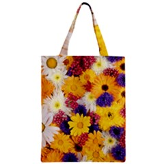 Colorful Flowers Pattern Zipper Classic Tote Bag