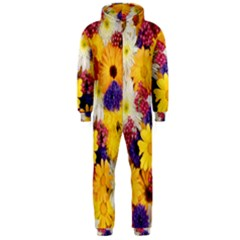 Colorful Flowers Pattern Hooded Jumpsuit (men)  by BangZart