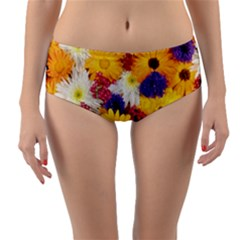 Colorful Flowers Pattern Reversible Mid Waist Bikini Bottoms