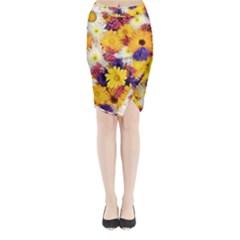 Colorful Flowers Pattern Midi Wrap Pencil Skirt