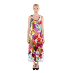 Abstract Colorful Heart Sleeveless Maxi Dress