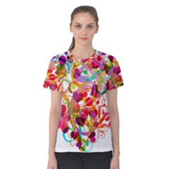 Abstract Colorful Heart Women s Cotton Tee