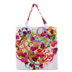 Abstract Colorful Heart Grocery Tote Bag by BangZart