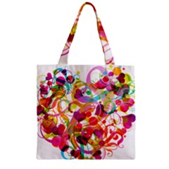 Abstract Colorful Heart Zipper Grocery Tote Bag by BangZart