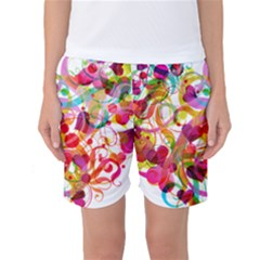 Abstract Colorful Heart Women s Basketball Shorts