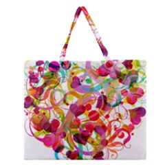 Abstract Colorful Heart Zipper Large Tote Bag by BangZart