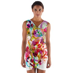 Abstract Colorful Heart Wrap Front Bodycon Dress