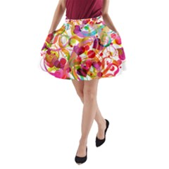 Abstract Colorful Heart A Line Pocket Skirt