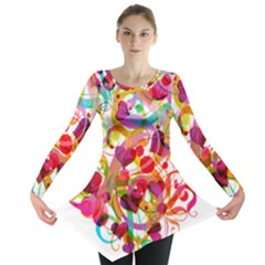 Abstract Colorful Heart Long Sleeve Tunic