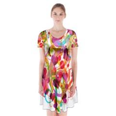 Abstract Colorful Heart Short Sleeve V Neck Flare Dress
