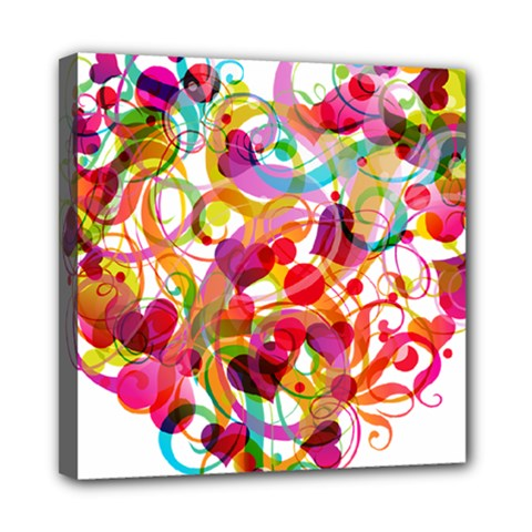 Abstract Colorful Heart Mini Canvas 8  X 8