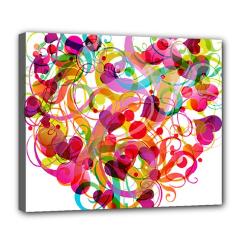 Abstract Colorful Heart Deluxe Canvas 24  X 20   by BangZart
