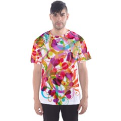 Abstract Colorful Heart Men s Sports Mesh Tee