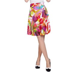 Abstract Colorful Heart A Line Skirt