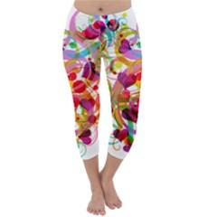 Abstract Colorful Heart Capri Winter Leggings