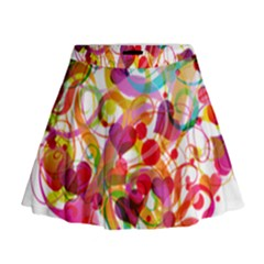 Abstract Colorful Heart Mini Flare Skirt