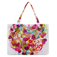 Abstract Colorful Heart Medium Zipper Tote Bag