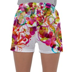 Abstract Colorful Heart Sleepwear Shorts
