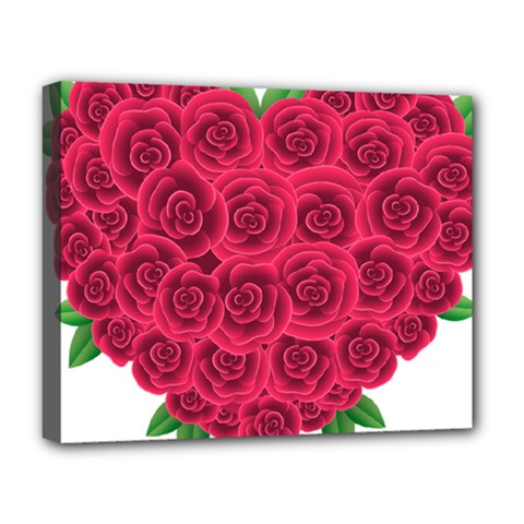 Floral Heart Deluxe Canvas 20  X 16   by BangZart