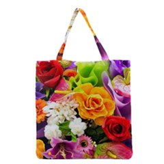 Colorful Flowers Grocery Tote Bag
