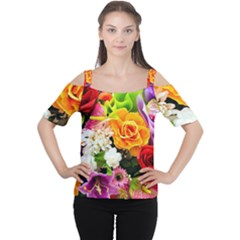 Colorful Flowers Cutout Shoulder Tee